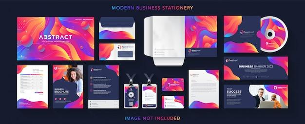 Conjunto de papelaria de marca profissional de negócios corporativos Vetor Premium