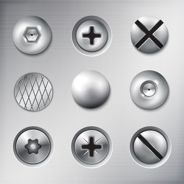 Conjunto de parafusos de prendedores anexados realista parafusos pregos na textura de metal isolado Vetor grátis