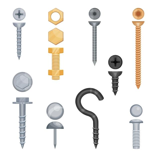 Conjunto de parafusos e porcas de metal em diferentes tamanhos e cores Vetor Premium