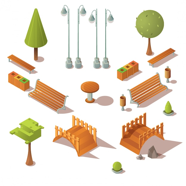 Conjunto de parque isométrico. bancos, árvores, pontes de madeira Vetor grátis