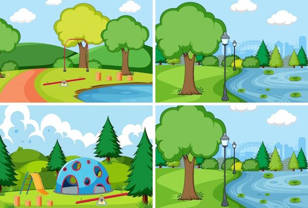 Conjunto de parque simples Vetor grátis