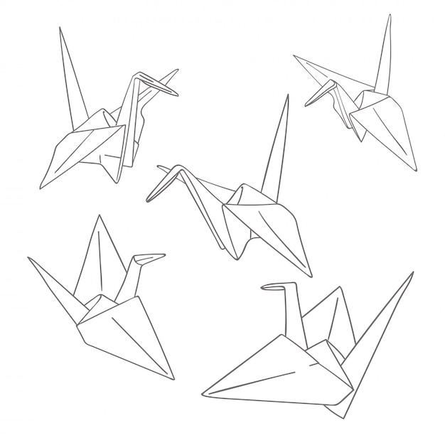 Conjunto de pássaros de origami de papel de contorno isolados no branco Vetor Premium