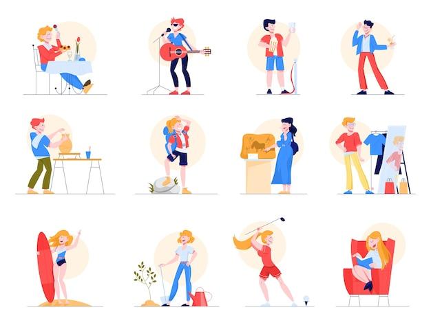 Conjunto de passatempo. coleção de pessoas e atividade criativa. pessoa artística. esporte e arte, boates e leitura. ilustração em grande estilo Vetor Premium