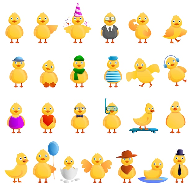 Conjunto de pato, estilo cartoon Vetor Premium