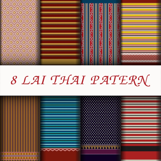 Conjunto de patter de estilo tailandês de vetor Vetor Premium
