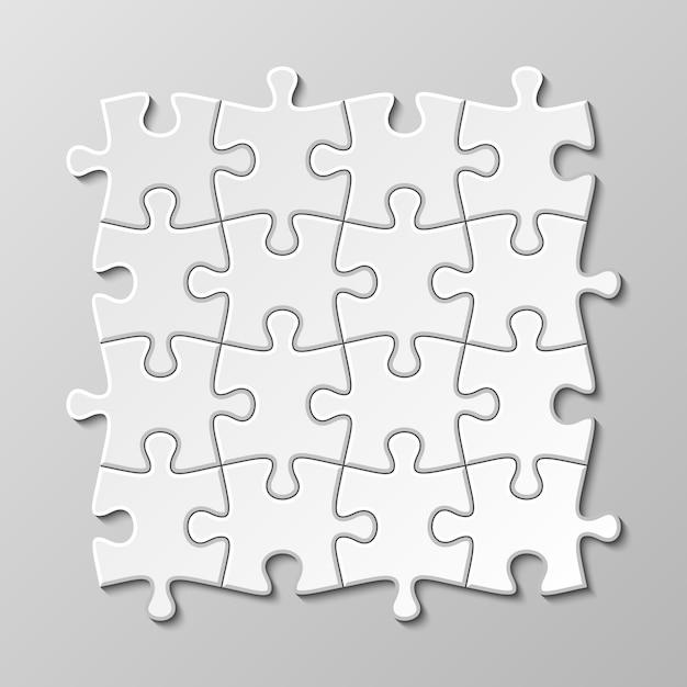 Conjunto de peça de quebra-cabeça em branco branco Vetor Premium