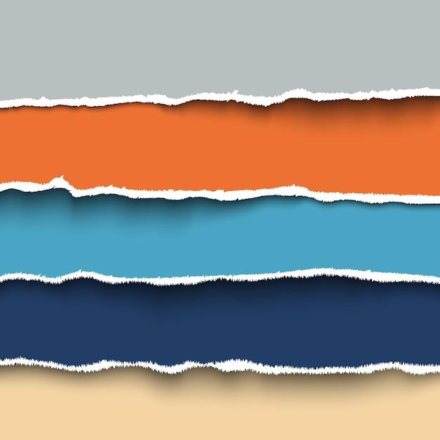Conjunto de pedaços coloridos de papel rasgado com bordas rasgadas, papelão rasgado. Vetor Premium