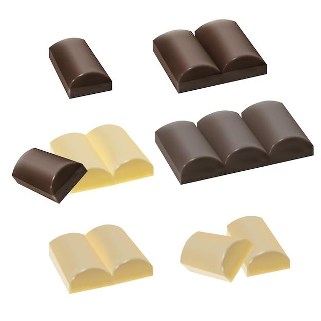 Conjunto de pedaços de chocolate, chocolate ao leite, chocolate branco Vetor Premium
