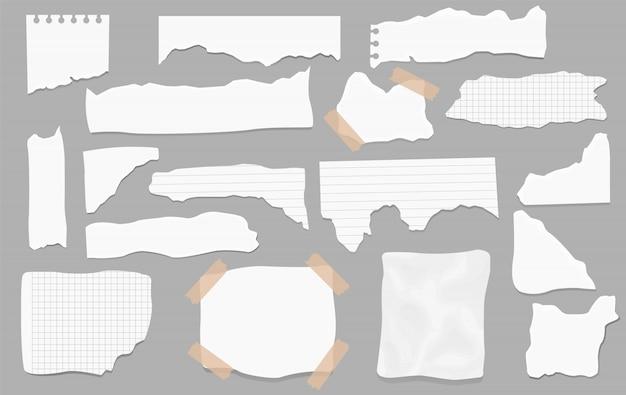 Conjunto de pedaços de formas diferentes de papel. papéis rasgados, pedaços de página rasgada e pedaço de papel de nota de scrapbook. página de textura, folha de memorando texturizada ou fragmento de caderno. Vetor Premium