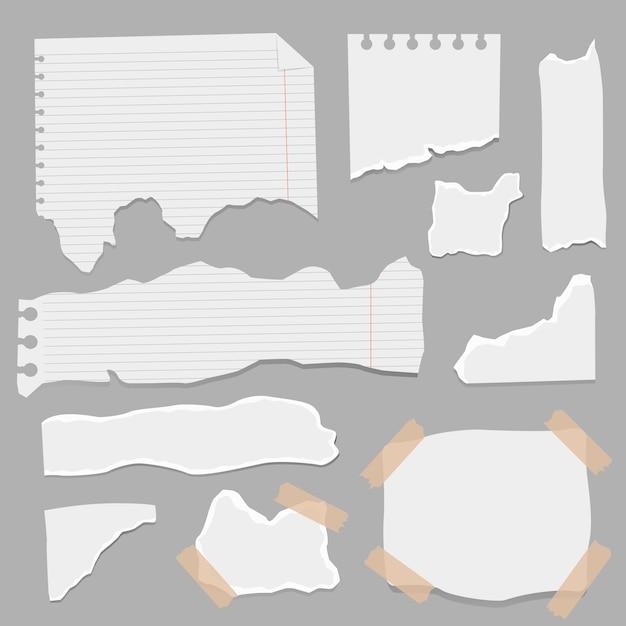 Conjunto de pedaços de formas diferentes de papel Vetor Premium