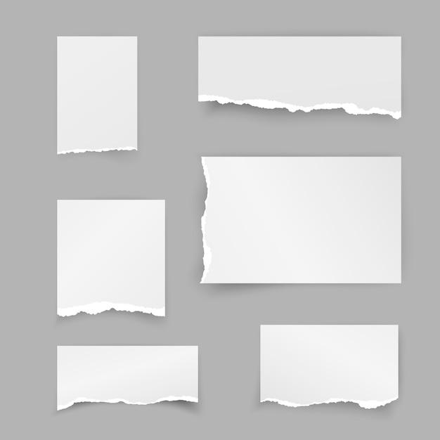 Conjunto de pedaços de papel rasgado. papel de sucata. faixa de objeto com sombra em fundo cinza. ilustração Vetor Premium