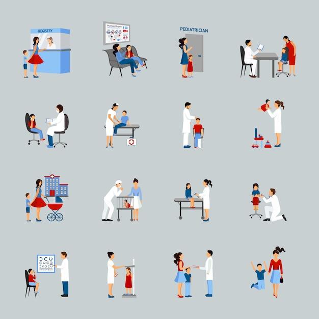 Conjunto de pediatra de médico de crianças Vetor grátis