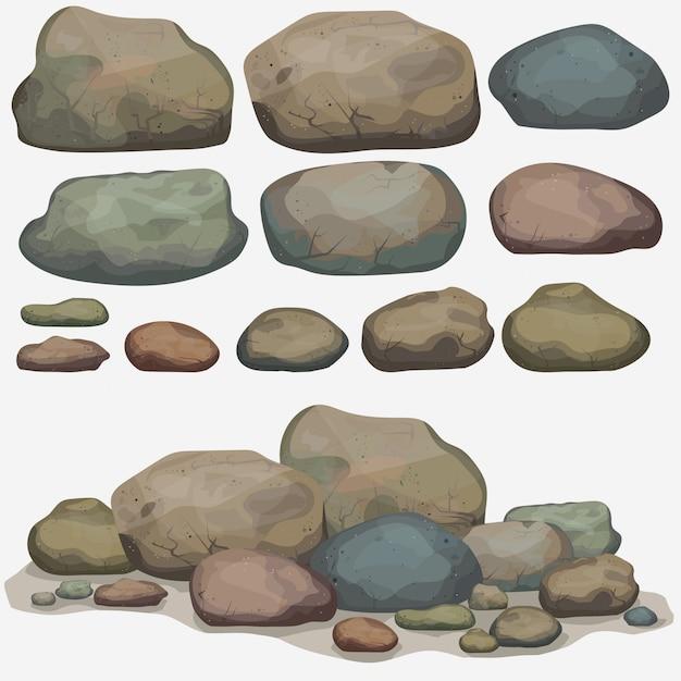 Conjunto de pedra rocha de diferentes pedregulhos Vetor Premium