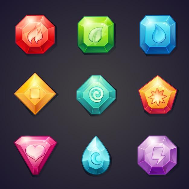 Conjunto de pedras coloridas de desenho animado com diferentes elementos de sinais para uso no jogo, três em uma fileira Vetor Premium