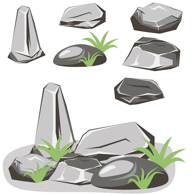 Conjunto de pedras de rocha. pedras e rochas em estilo plano 3d isométrico Vetor Premium