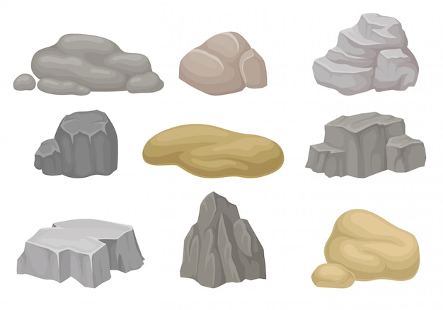 Conjunto de pedras e rochas. Vetor Premium