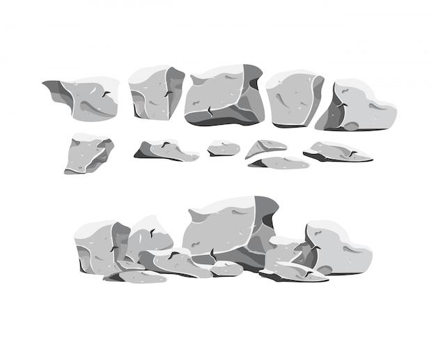 Conjunto de pedras pesadas em estilo cartoon Vetor Premium