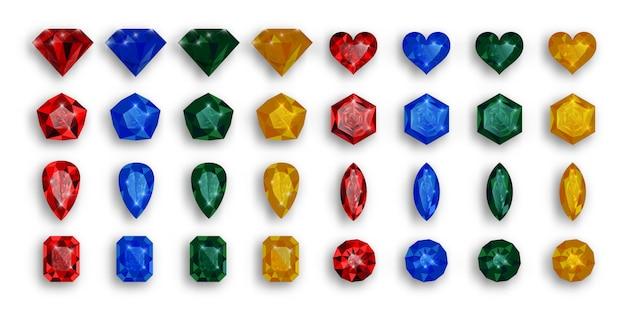 Conjunto de pedras preciosas coloridas. rubis, safiras e esmeraldas. Vetor Premium