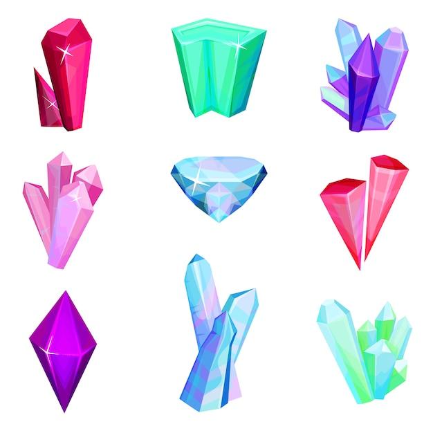 Conjunto de pedras preciosas cristalinas minerais, gemas de cristal coloridas ilustração sobre um fundo branco Vetor Premium