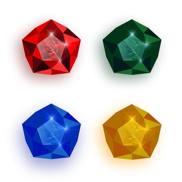 Conjunto de pedras preciosas multicoloridas. Vetor Premium