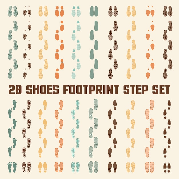 Conjunto de pegadas coloridas de pegadas de sapatos Vetor grátis