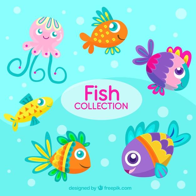 Conjunto De Peixes Coloridos Em Estilo Simples Vetor Gratis