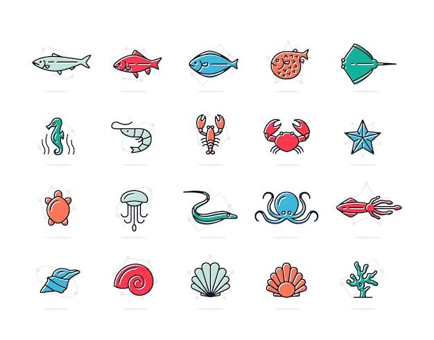 Conjunto de peixes e frutos do mar ícones de linha colorida. camarão, ostra, lula, caranguejo e muito mais. Vetor Premium