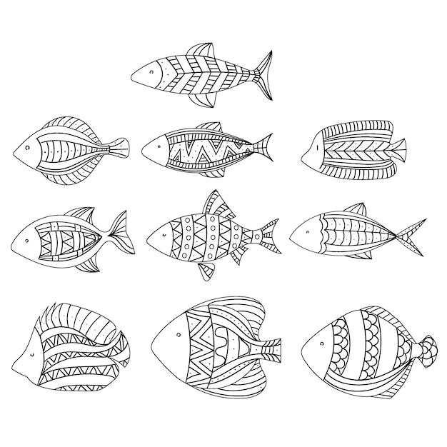 Conjunto de peixes estilizados. coleção de peixes de aquário. art. linear Vetor Premium