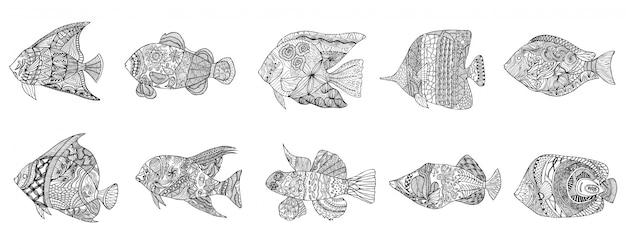 Conjunto de peixes estilizados de mão desenhada com doodle, elementos vintage com padrão acenado Vetor Premium