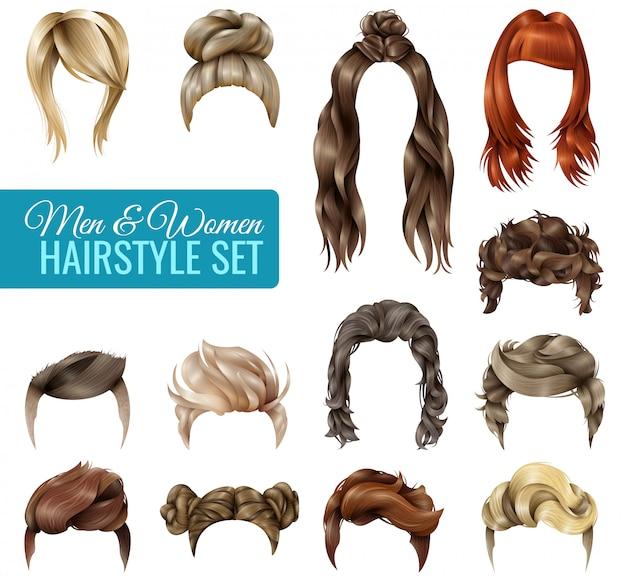 Conjunto de penteado realista Vetor grátis