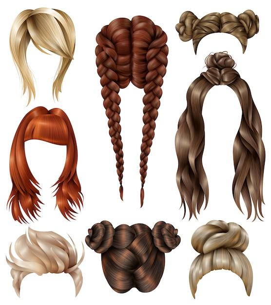 Conjunto de penteados femininos realistas Vetor grátis