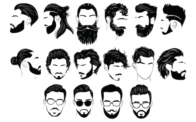 Conjunto de penteados para homens. coleção de silhuetas negras de penteados e barbas. Vetor Premium