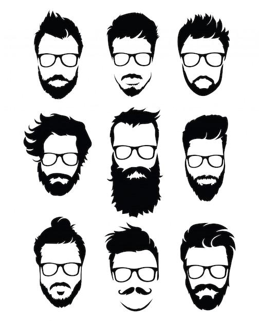 Conjunto de penteados para homens de óculos. coleção de silhuetas negras de penteados e barbas. Vetor Premium