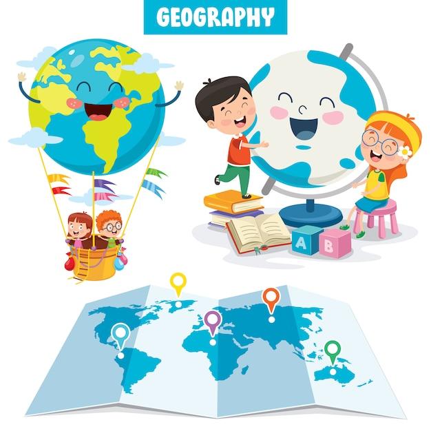 Conjunto de pequenos estudantes estudando geografia Vetor Premium