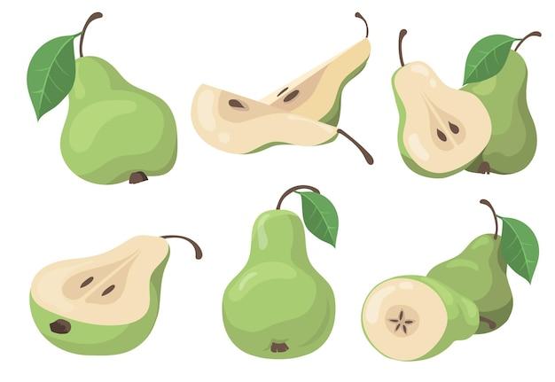 Conjunto de peras frescas Vetor grátis