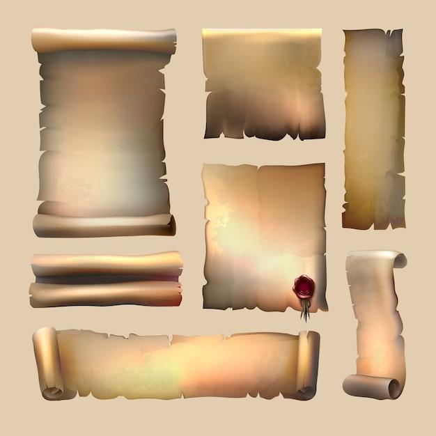 Conjunto de pergaminhos de papel antigo com folhas de lacre de cera de tamanhos diferentes em bege Vetor grátis