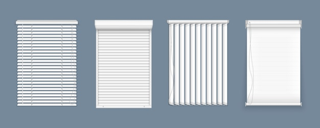 Conjunto de persianas horizontais e verticais para janela, interior do elemento. persianas de janela fechada realista, vista frontal. persianas horizontais, verticais fechadas e abertas para salas de escritório. Vetor Premium