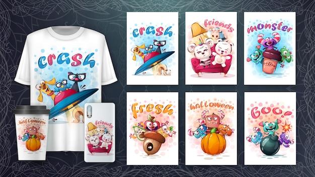 Conjunto de personagem bonito desenho para cartaz e merchandising Vetor Premium