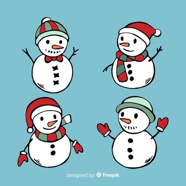 Conjunto de personagem de boneco de neve mão desenhada Vetor grátis