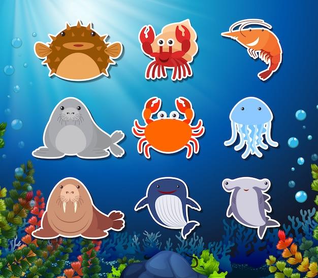 Conjunto de personagem de criatura subaquática Vetor grátis