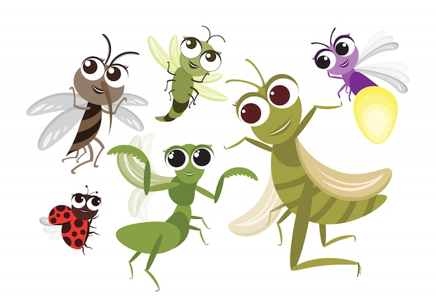Conjunto de personagem de desenho animado bonito de insetos voadores Vetor Premium