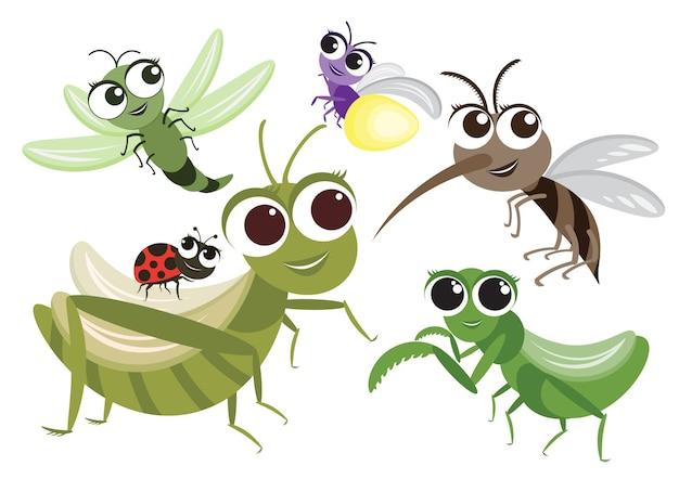Conjunto de personagem de desenho animado bonito de insetos Vetor Premium
