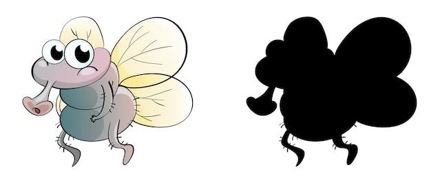 Conjunto de personagem de desenho animado de inseto e sua silhueta em fundo branco Vetor grátis