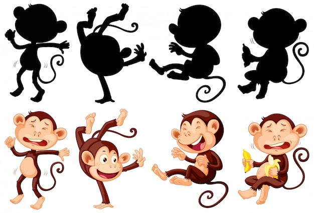 Conjunto de personagem de desenho animado de macaco e silhueta Vetor grátis
