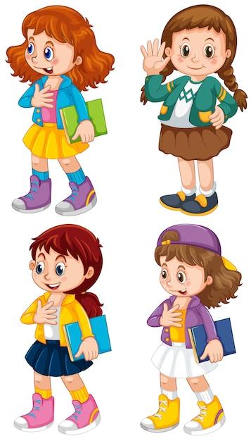 Conjunto de personagem de menina cute Vetor grátis