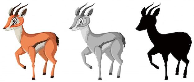 Conjunto de personagem gazela Vetor Premium