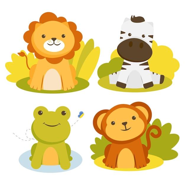 Conjunto de personagens animais com leões, zebras, sapos e macacos Vetor grátis