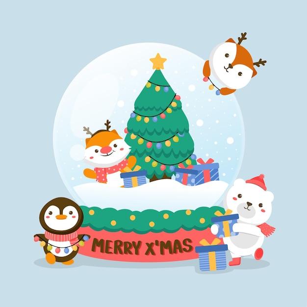 Conjunto de personagens animais com veado, urso branco, pinguim, árvore de natal e caixa de presente em bola de vidro. Vetor grátis