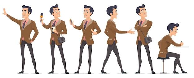 Conjunto de personagens coloridos de repórter de jornalista com diferentes equipamentos profissionais em várias poses isolados Vetor grátis