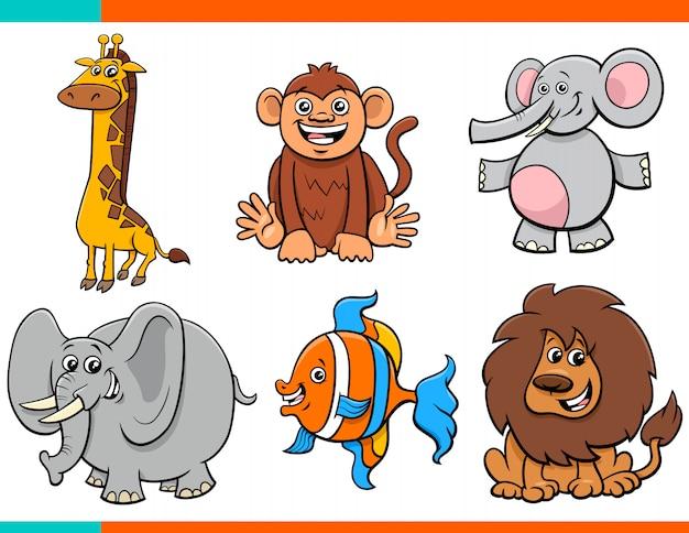 Conjunto de personagens de animais engraçados dos desenhos animados Vetor Premium